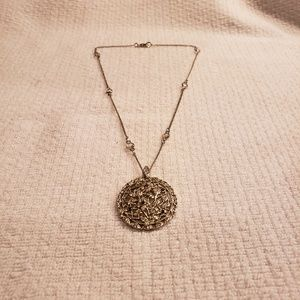 Silver Crystals Medallion Flower Necklace